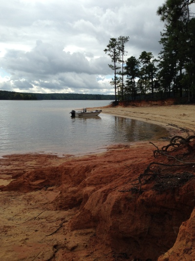 Mistletoe State Park boat and red clay
