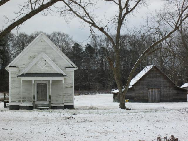 south georgia school and barn in snow